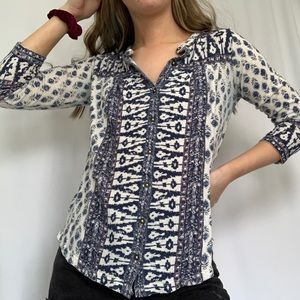 Lucky Brand Blue Patterned Button Down Top